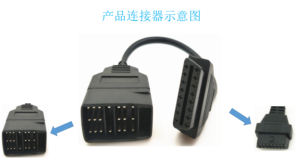 OBDII 16P J1962 Female to GM16P Male plastic connector