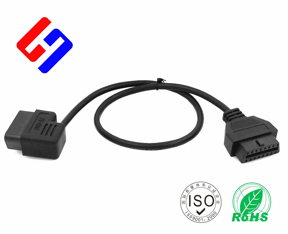 OBDII 16P J1962 90° Male to OBDII 16P J1962 Female. Vehical Extension Cable